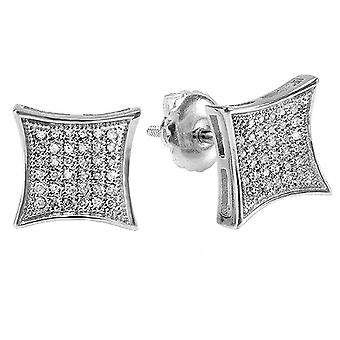 Dazzlingrock Collection 0.15 Carat (ctw) 10K White Real Diamond Kite Shape Men-apos;s Hip Hop Iced Stud Boucles d'oreilles, Or blanc