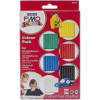Fimo assorted Kids Basic modelagem Clay Pack, multi-Colour, 6 x 42 g