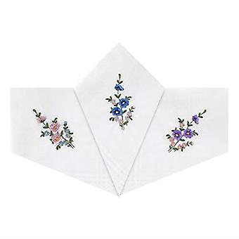 Womens/Ladies Handkerchiefs White Cotton With Floral Embroidered Design, Gift Boxed
