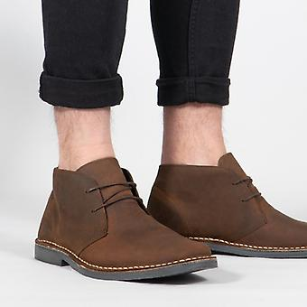 Roamers Mens 2 Eye Shaped Dedo Leather Desert Boots Oily Brown Roamers Mens 2 Eye Shaped Dedo Leather Desert Boots Oily Brown