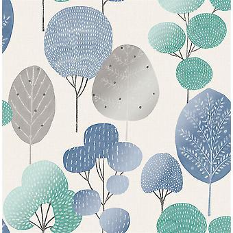 Corona Scandi bosque árbol metálico papel pintado bosque hoja azul teal shimmer