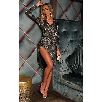 IKRUSH Womens Molly Shimmer Zebra Print Midi Dress
