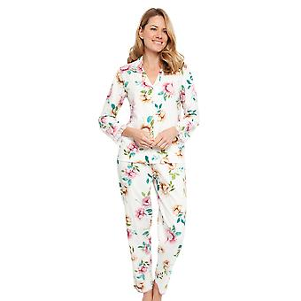 Cyberjammies 1344 Women's Nora Rose Lydia Cream Off White Floral Print Βαμβάκι Υφασμένα Πυτζάμα Σετ