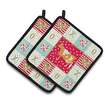 Carolines Treasures  CK5248PTHD Guernsey Cow Love Pair of Pot Holders