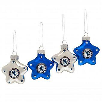 Chelsea FC Christmas Star Baubles (Pack Of 4)