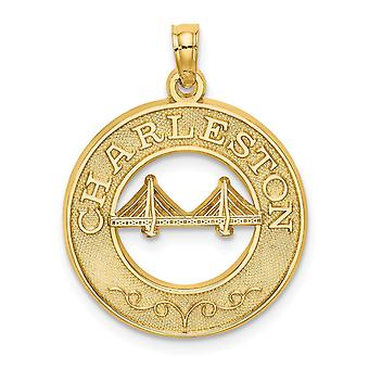 14k Gold Char Pendant Necklaceleston Round Frame With Bridge Center Jewelry Gifts for Women