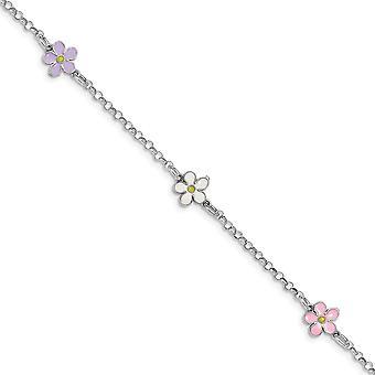 925 Sterling Argent Rhodium plaqué Fleur enamelée avec .75 In Ext Bracelet 6.25 Inch Bijoux Cadeaux pour les femmes