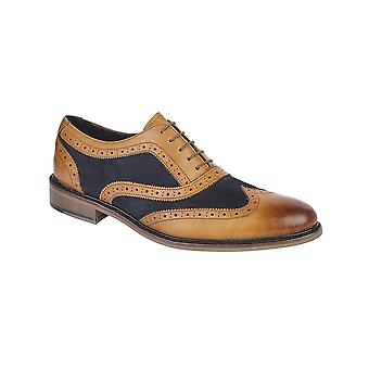 Roamers Tan/navy Leather/suede 5 Eye Brogue Oxford Shoe Padded Sock Leather-look Tunit Rubber Sole