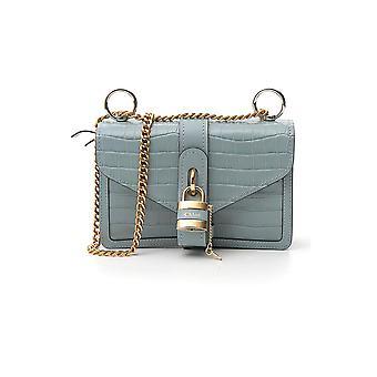 Chloé Chc19ws206a8744l Women's Light Blue Leather Shoulder Bag