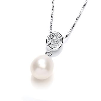 David Deyong Sterling Silver Freshwater Pearl Pave Cz Necklace