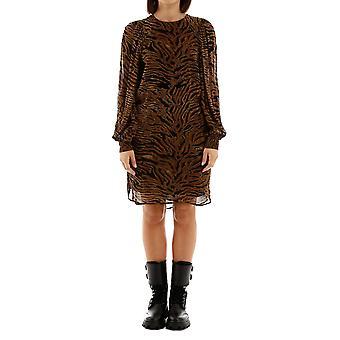 Ganni F3775986 Women's Brown/black Viscose Dress