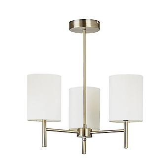 Endon Lighting Brio Three Light Semi Flush Ceiling Light In Antique Brass