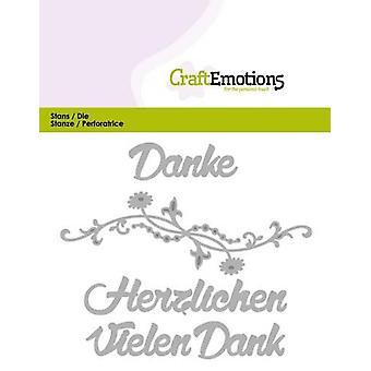 CraftEmotions Die Text - Vielen Dank (DE) Cartão 11x9cm
