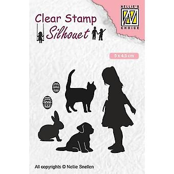 Nellie's Choice Clearstamp - Silhouette Child play animal lover SIL050 50x45 mm