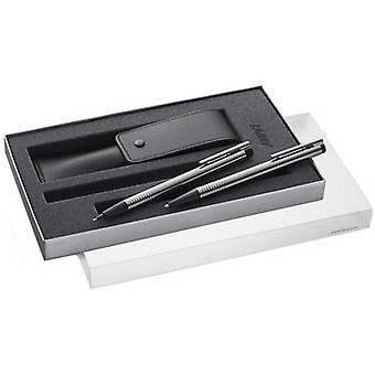 Lamy Logo Ballpoint Pen and Mechanical Pencil Set - Silver/Matte Black