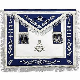 Masońskie niebieskie złożyć g master mason srebrna maszyna haft fartuchy fartuch