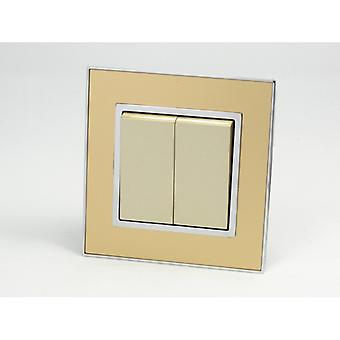 I LumoS AS Luxury Gold Mirror Glass Single Frame 2 Gang 2 Way Rocker Light Switches