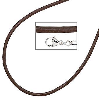 Naisten kaulakoru nahka ruskea 925 hopea 42 cm nahkaketju karabiini