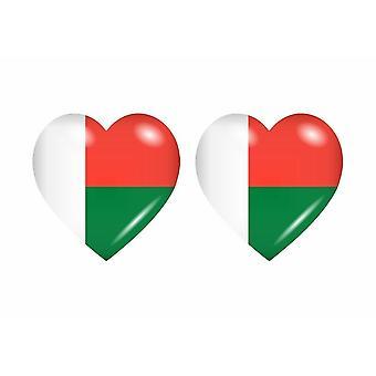 2x Stick pegatina bandera corazón RM madagascar
