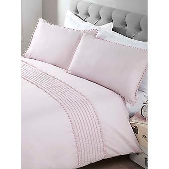 Pompom Edvet Cover and Pillowcase Bed Set - King, Blush