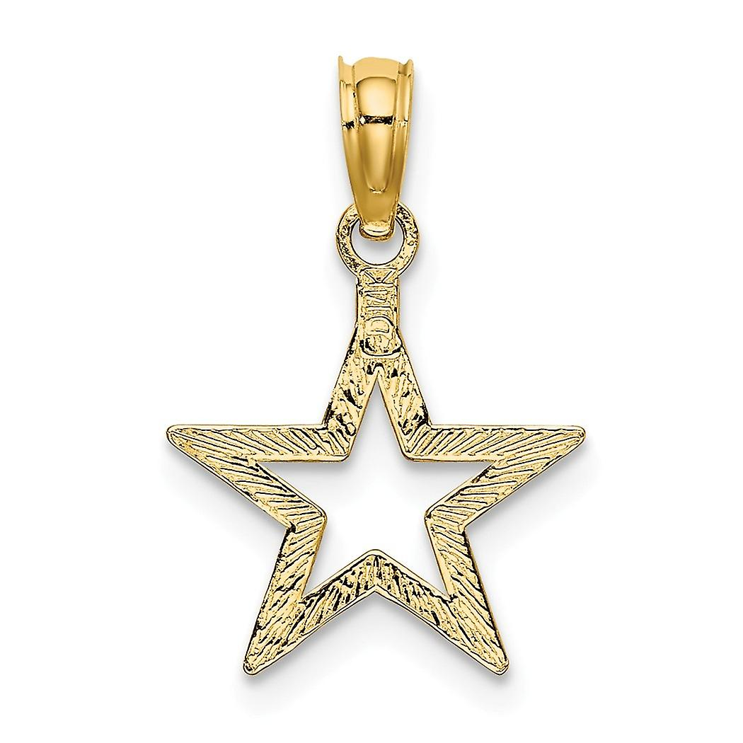 13mm 14k Gold Cut out Star 2 d and High Polish Charm Pendant Necklace Jewelry Gifts for Women