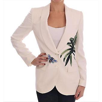 Dolce & Gabbana hvit ull Crystal Blazer jakke - JKT1548656