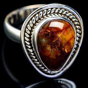 Golden Pietersite Ring Size 7.25 (925 Sterling Silver)  - Handmade Boho Vintage Jewelry RING5209