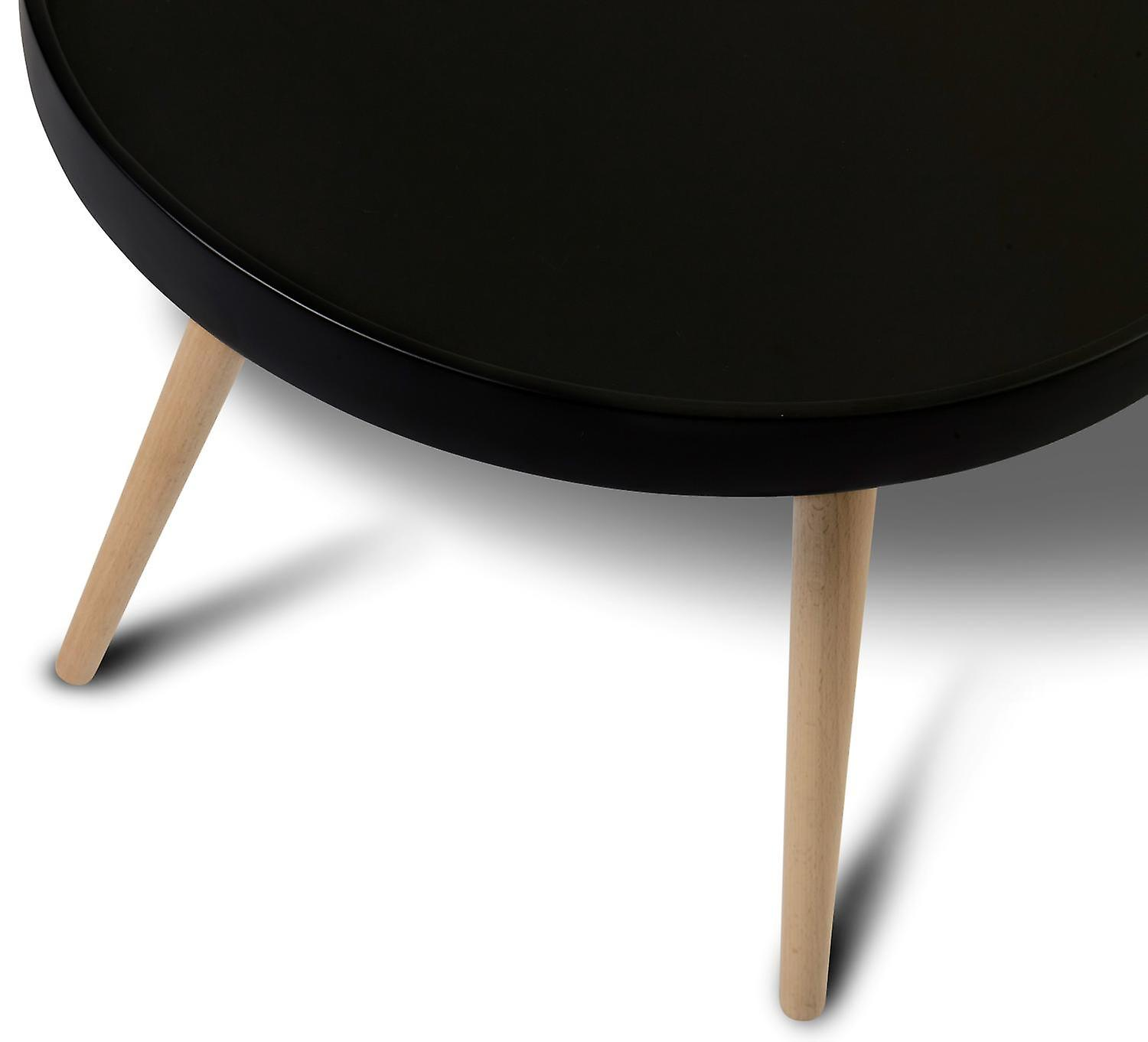 Furnhouse Opus Coffee Table Large, Black Top, Natural Wooden Legs, 90x90x45 cm