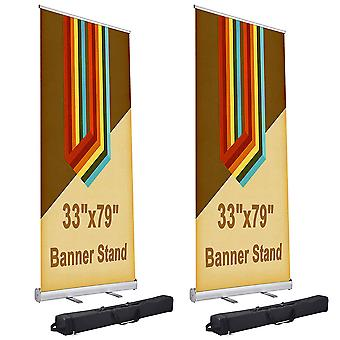 """Yescom 33x79"""" Aluminum Retractable Roll Up Banner Stand Trade Show Display Promo Sign Holder with Bag (Pack of 2)"""