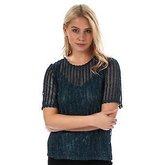 Women's Vero Moda Shane Sparkle Stripe Top in Blue