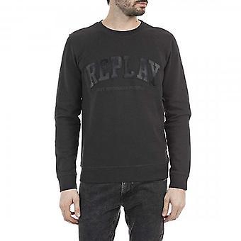 Replay Debossed Logo Crew Neck Sweatshirt Washed Black M3227