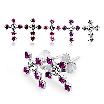 Jeweled Cross Silver Earring