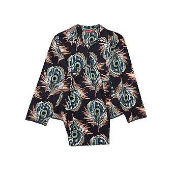 Minijammies Elena 5655 Girl's Black Peacock Feather Print Pyjama Set