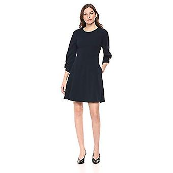 Brand - Lark & Ro Women's Gathered 3/4 Sleeve Crew Neck Fit and Flare Dress with Pockets, Navy, 4