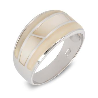ADEN 925 Sterling Silver White Mother-of-pearl Ring (id 4145)