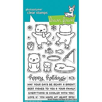 Lawn Fawn Beary Happy Holidays Clear Stamps