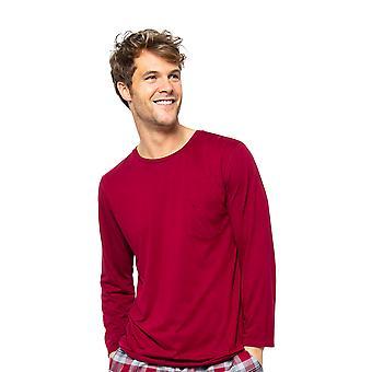 Cyberjammies Liam 6520 Männer's Burgund Rot Pyjama Top