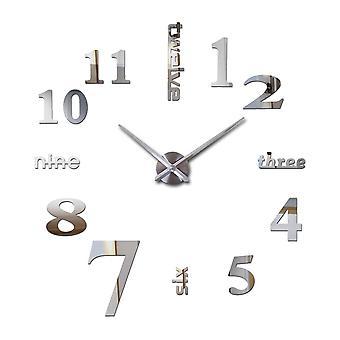 Creative diy acrylic mirror large wall clock quartz watch still life modern clocks needle living room home decor stickers