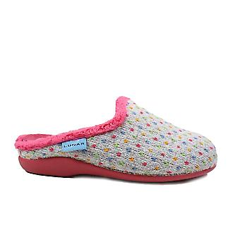 Lunar Whisper Grey Textile Womens Mule Slippers