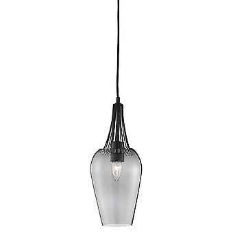 Searchlight Whisk - 1 lichte plafondhanger Zwart met gerookte glazen tint, E27