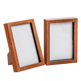 "Nicola Spring Acrylic Box Photo Frame - Dark Wood - 6 x 8"" (A5) - Pack of 2"