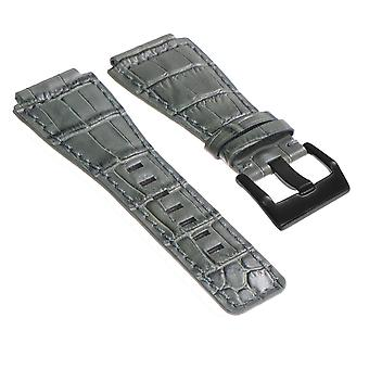 Strapsco dassari croc präglad läderrem för klocka & ross w matt svart spänne