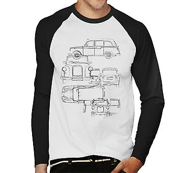 London Taxi Company Light Blueprint Men's Baseball Long Sleeved T-Shirt