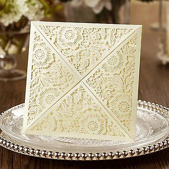 10 'LILY' Square Floral Laser Cut Invitations Envelope Style