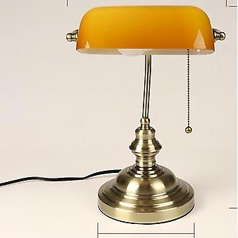 E27 Classical Vintage Banker Table Lamp With Switch Green Glass Lampshade Cover