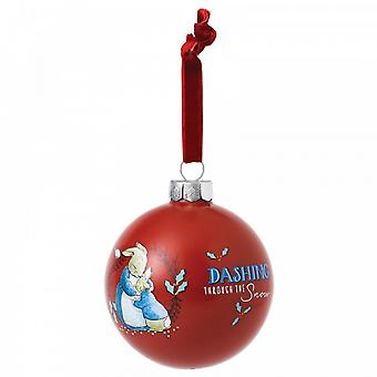 Beatrix Potter Mrs Rabbit & Peter Rabbit Merry Christmas Bauble