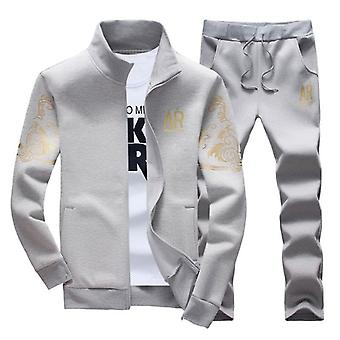 Autumn Sporting Tracksuit Male Fitness Stand Collar Sweatshirts Veste + Pantalon