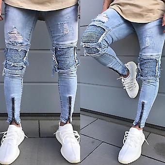Men's Skinny Slim Fit Straight Ripped Destroyed Distressed Zipper Stretch Knee