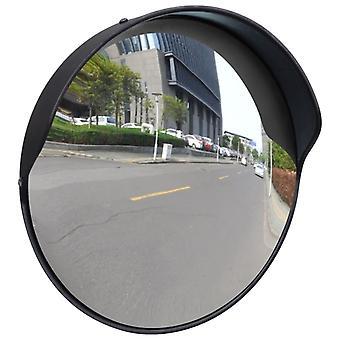 حركة المرور مرآة محدبة PC بلاستيك أسود 30 سم في الهواء الطلق