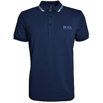 雨果老板休闲雨果博斯男士休闲海军帕迪职业马球衫